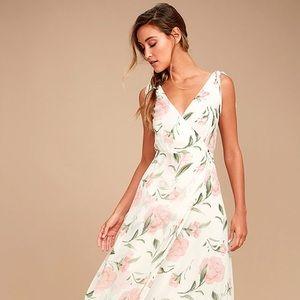 White Floral Print Maxi Dress